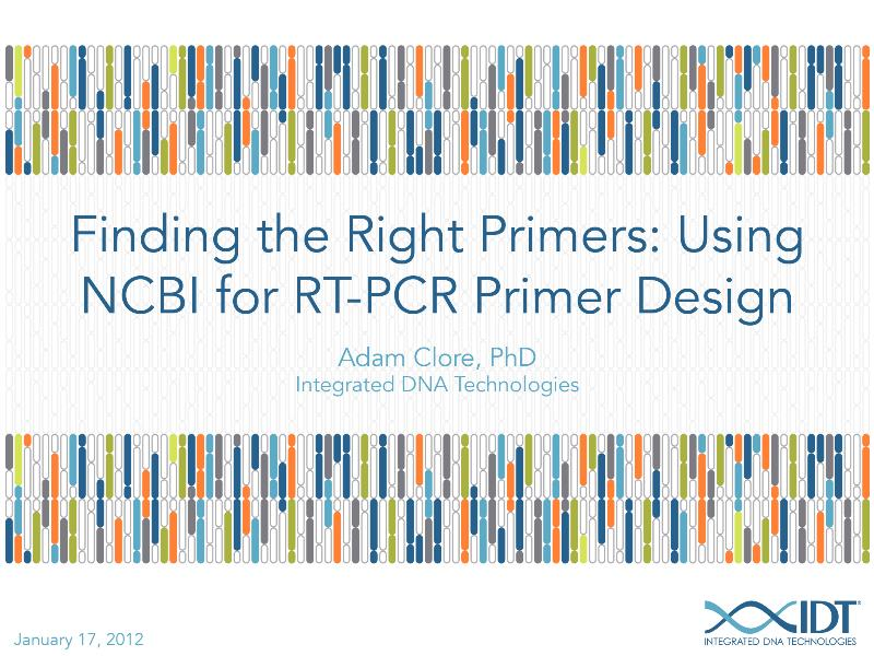 finding the right primers using ncbi for rt pcr primer design